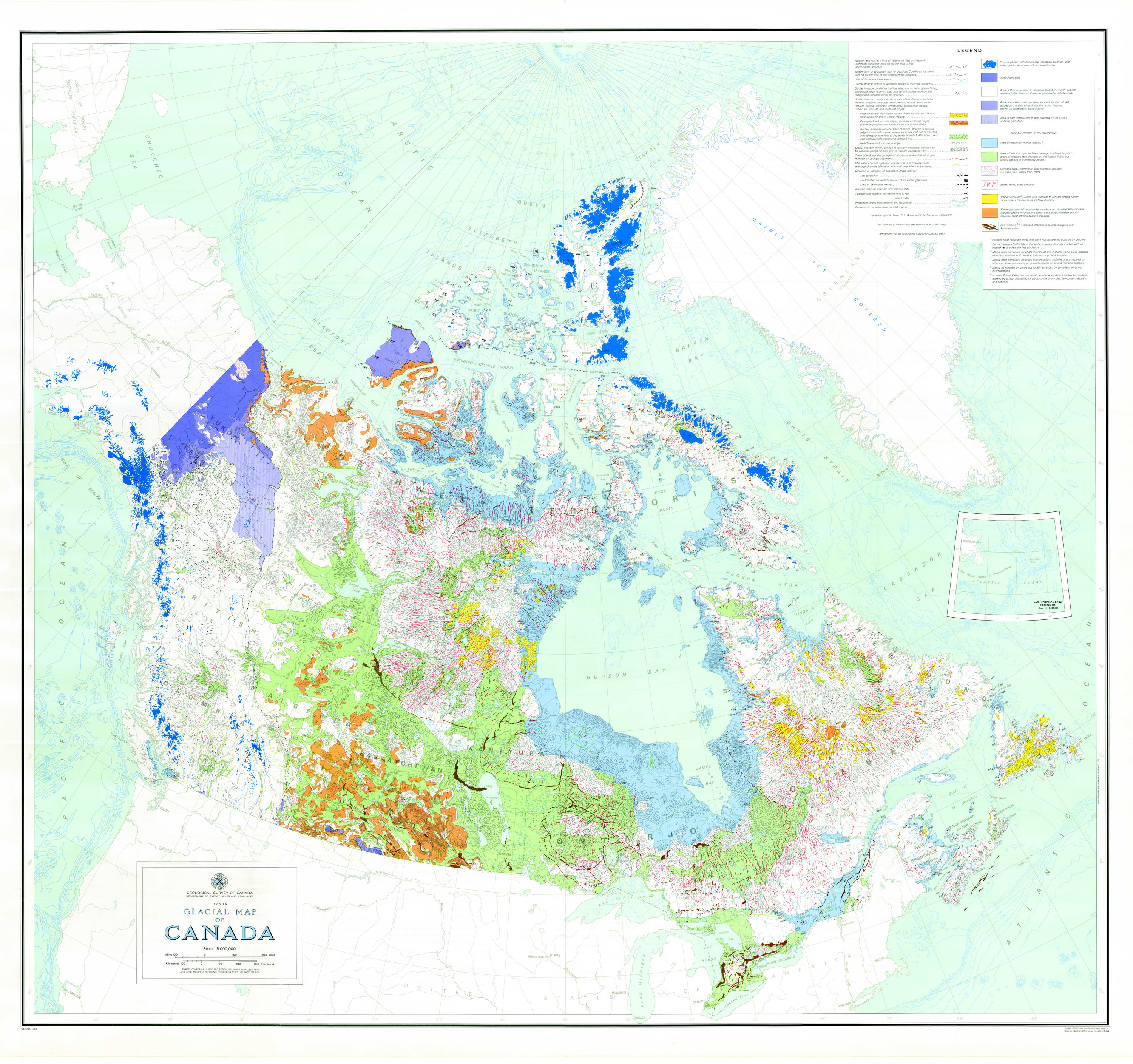 Pics Of Canada Map.106 Glacial Map Of Canada 1968 Science Gc Ca