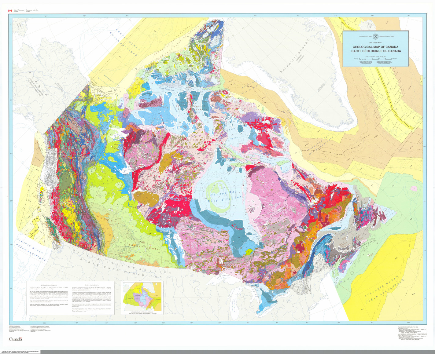 Geologic Map Of Canada 159. New Geological Map of Canada (1996)   Science.gc.ca