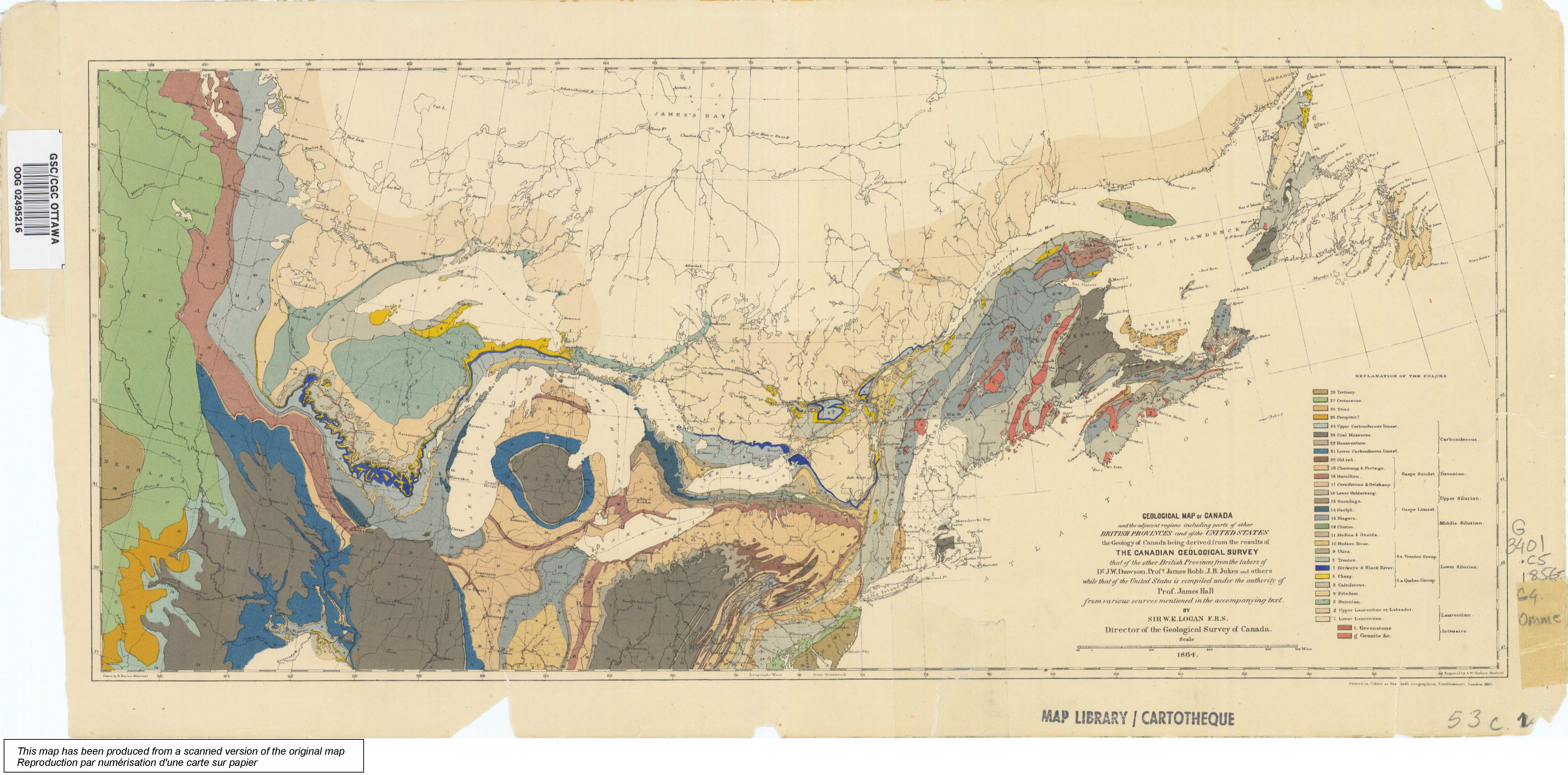Map Of Canada Jpg.22 First Geological Map Of Canada 1864 Science Gc Ca