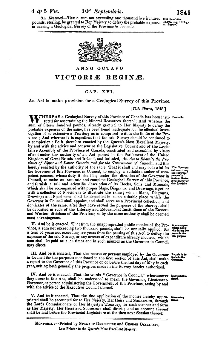 5  Government Act (1845) - Science gc ca